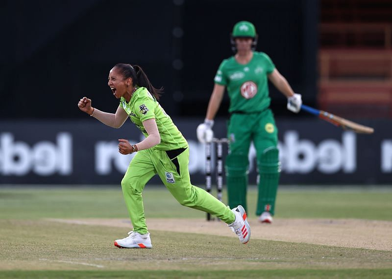 Shabnim Ismail celebrates after picking up a wicket.