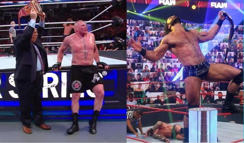 Brock Lesnar (left) almost faced AJ Styles twice at Survivor Series. Whereas, Drew McIntyre was a last-minute entry into this year