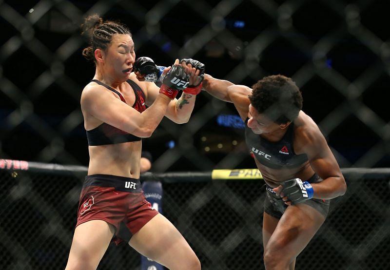 UFC strawweight Yan Xiaonan (L)