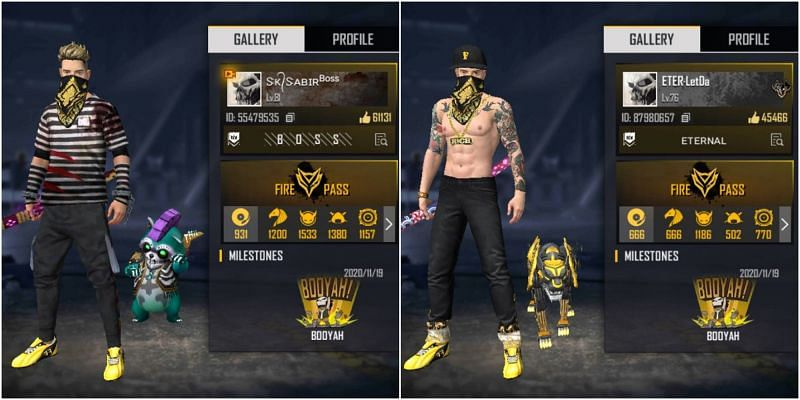 Free Fire IDs of SK Sabir Boss and LetDa Hyper