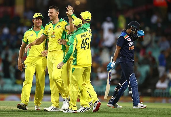 Australia celebrate the fall of a wicket