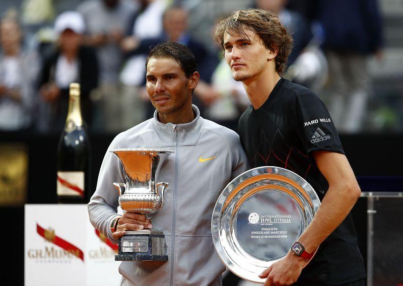 Rafael Nadal (L) and Alexander Zverev at Rome Masters 2018