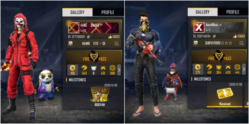Badge 99 vs Amitbhai: Who has the better stats in Free Fire?