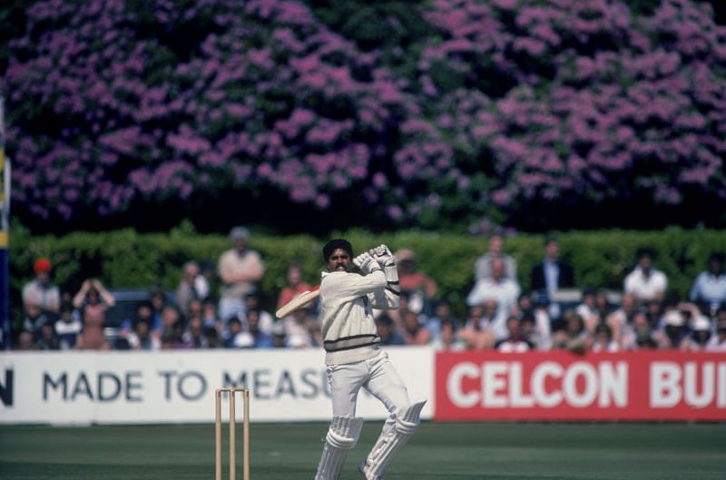 Kapil Dev batting against New Zealand in the 1983 World Cup