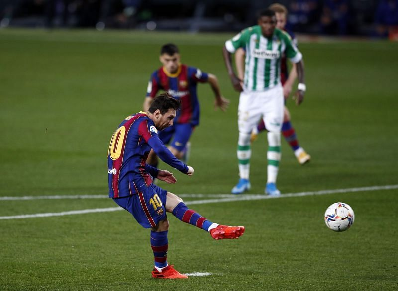 Lionel Messi in action against Real Betis in La Liga