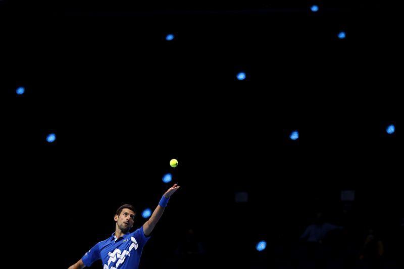 Novak Djokovic serving to Alexander Zverev