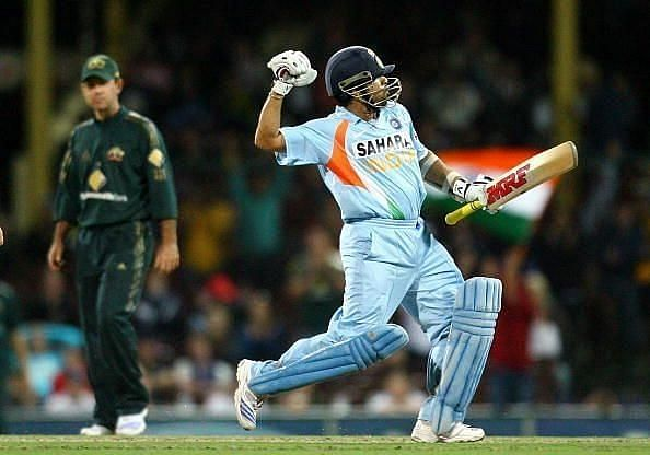 Sachin Tendulkar celebrates against Australia