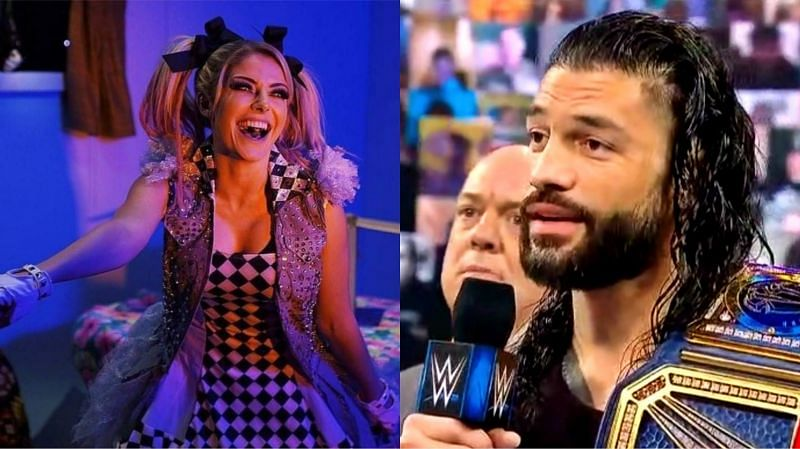 Alexa Bliss (left) and Roman Reigns (right)