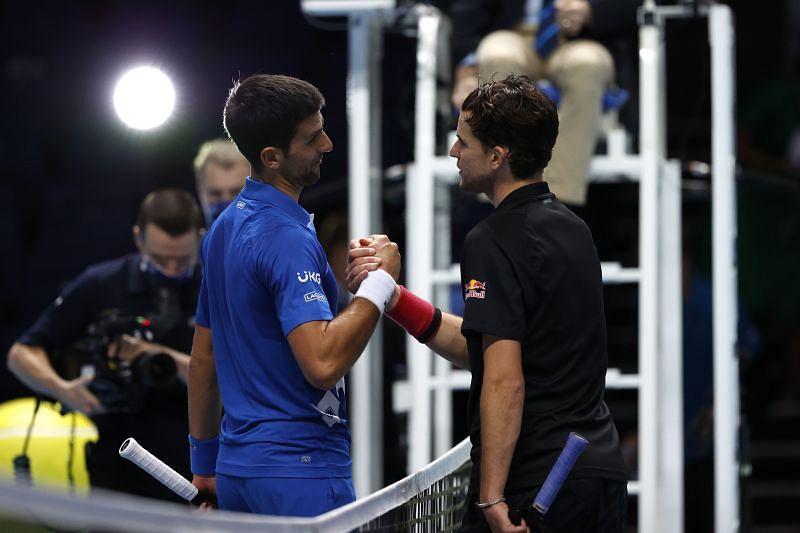 Dominic Thiem (R) and Novak Djokovic