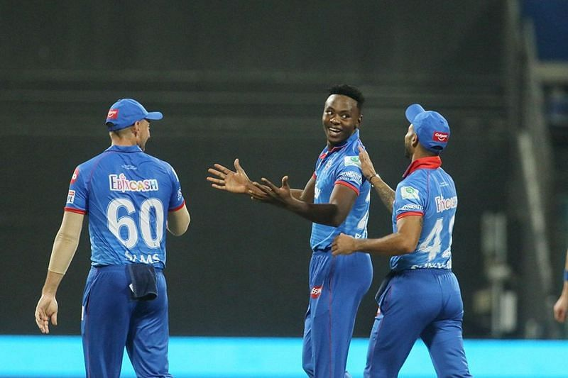 Kagiso Rabada (middle) celebrates the fall of a wicket with his teammates