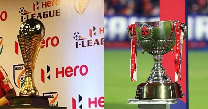 (From left) I-League & ISL Trophies
