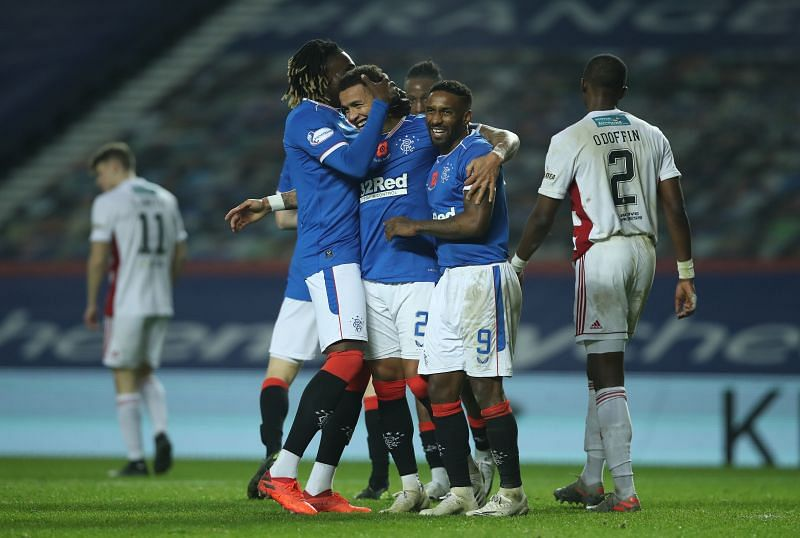 Rangers beat Hamilton Academical 8-0 in their last league game before the international break