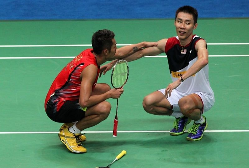 Lin Dan (left) and Lee Chong Wei after the 2011 World Championships final