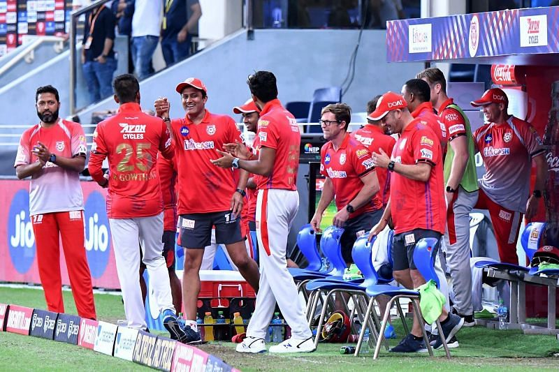 A happy Kings XI Punjab dugout after bowling out SRH for 114 runs
