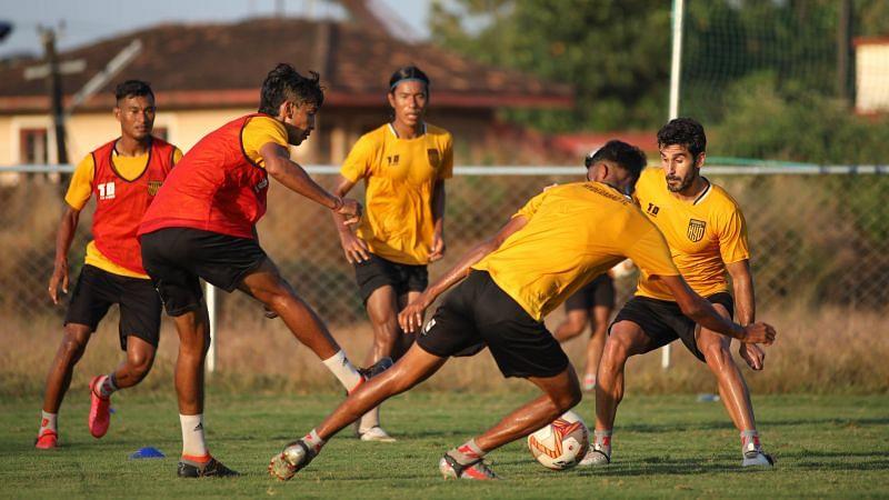 Hyderabad FC in training.