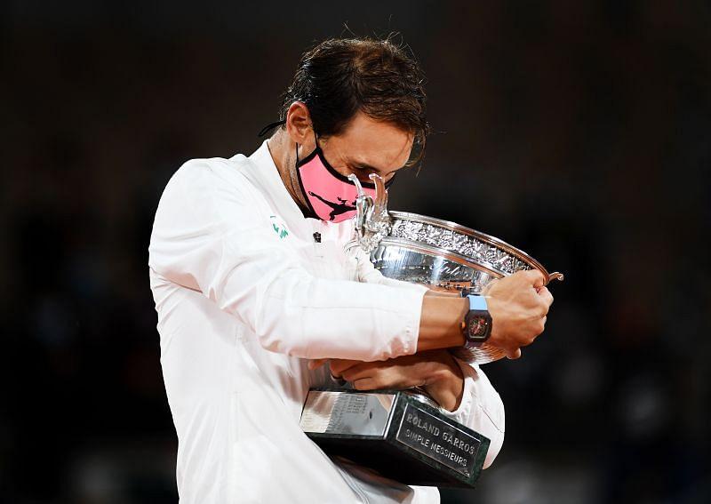 Rafael Nadal celebrates winning the 2020 French Open title