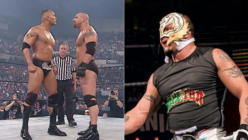 The Rock and Goldberg (left); Rey Mysterio (right)
