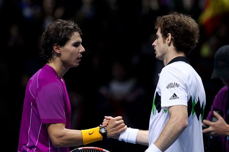 Rafael Nadal (L) and Andy Murray at the ATP Finals in 2010