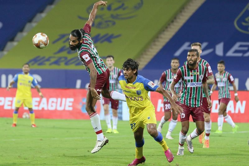 Sandesh Jhingan was as dependable as ever against the Kerala Blasters (Credits: ISL)