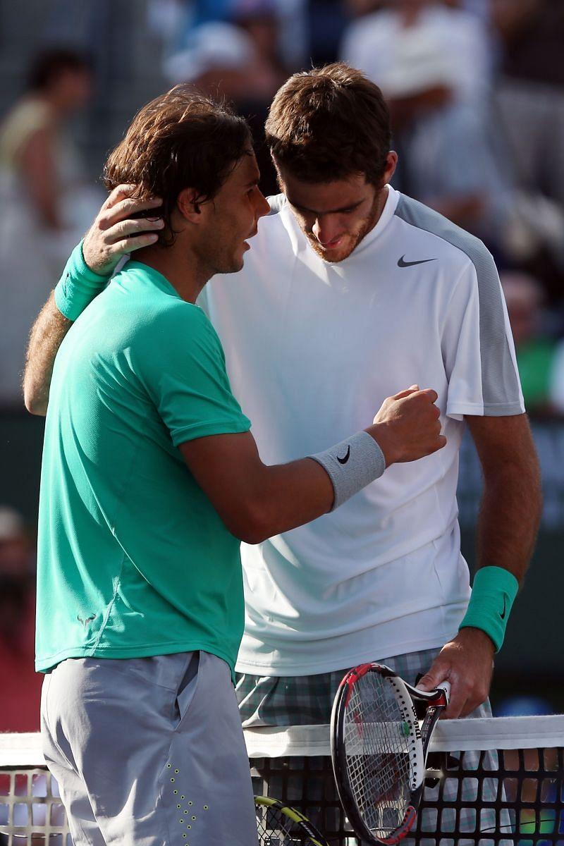 Rafael Nadal (L) and Juan Martin del Potro at the 2013 BNP Paribas Open Final