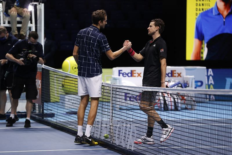 Daniil Medvedev and Dominic Thiem at the Nitto ATP Finals