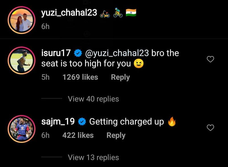 Sajid Mahmood also left a comment on Yuzvendra Chahal