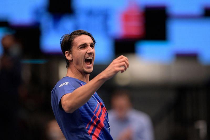 Lorenzo Sonego upset Novak Djokovic in Vienna last week
