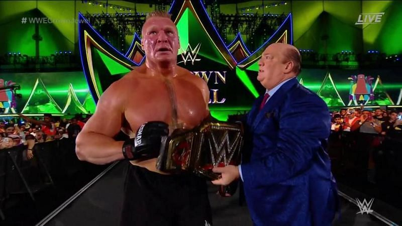 At the WWE Crown Jewel 2019 event, Brock Lesnar defeated Cain Velasquez to retain the WWE Championship