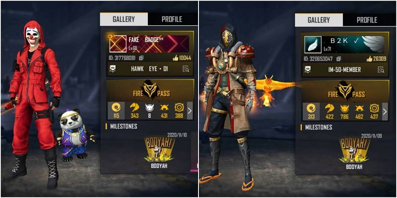 Who has better stats between Badge 99 and B2K (Born2Kill) in Free Fire?