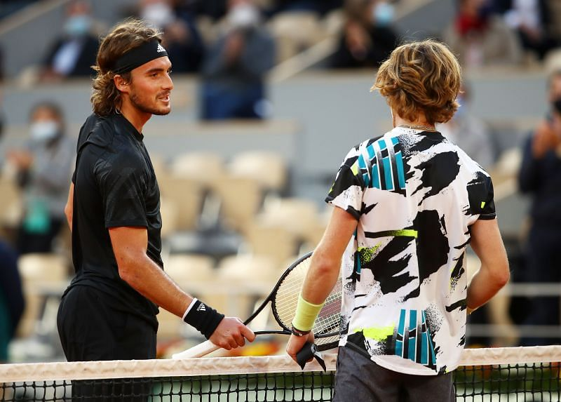 Stefanos Tsitsipas (L) meets Andrey Rublev at the 2020 French Open