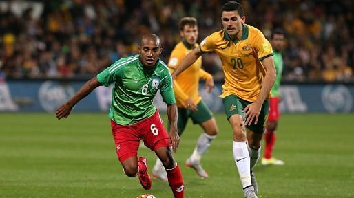 Jamal Bhuyan against Australia in the FIFA World Cup 2018 qualifiers.