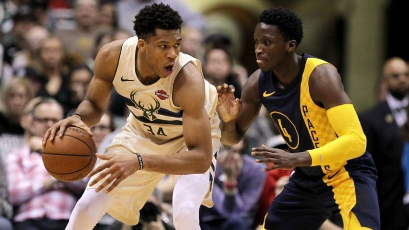Victor Oladipo (right) and Giannis Antetokounmpo (left)