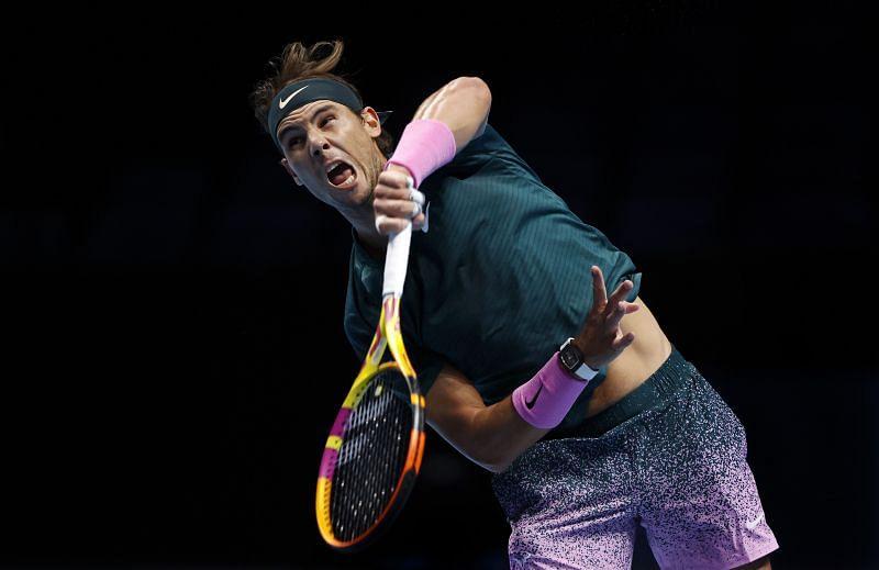 Rafael Nadal serves at the 2020 ATP Finals