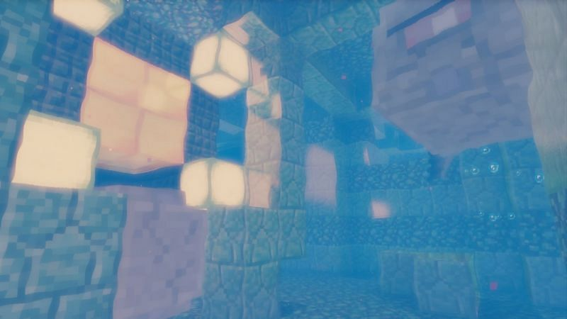 Inside Minecrafts Ocean Monument with two Elder Guardians. Image via Minecraft