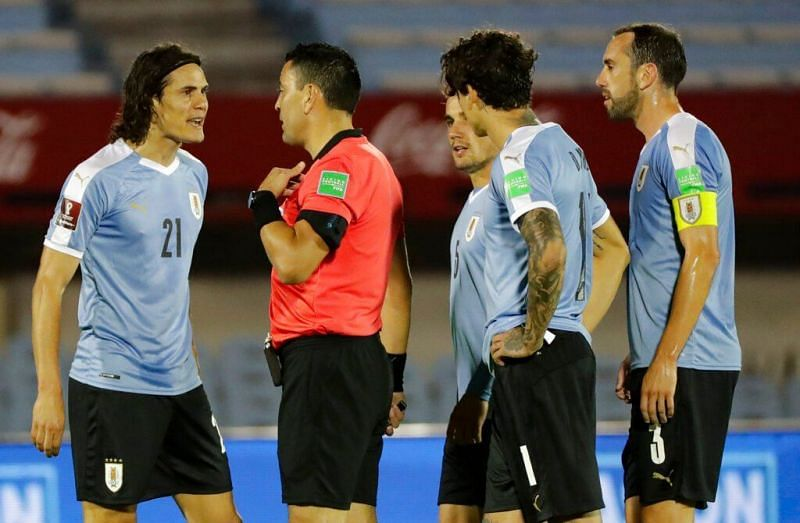 Edinson Cavani was shown a straight red card for trampling on Richarlison, but only after a VAR review