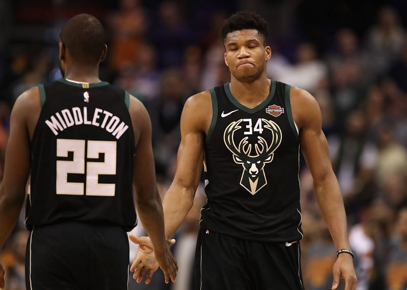 Milwaukee Bucks stars Giannis Antetokounmpo and Khris Middleton