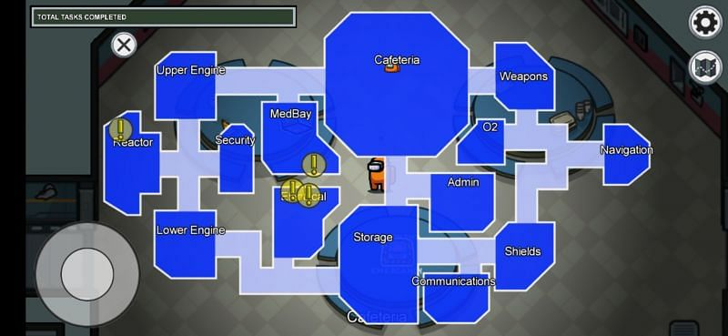 The Skeld Map in Among Us