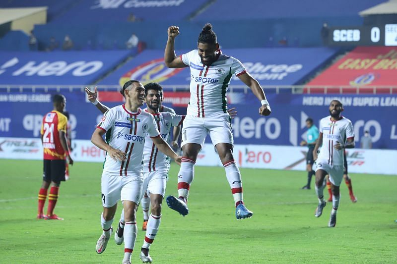 Roy Krishna celebrates after scoring the first goal in ISL