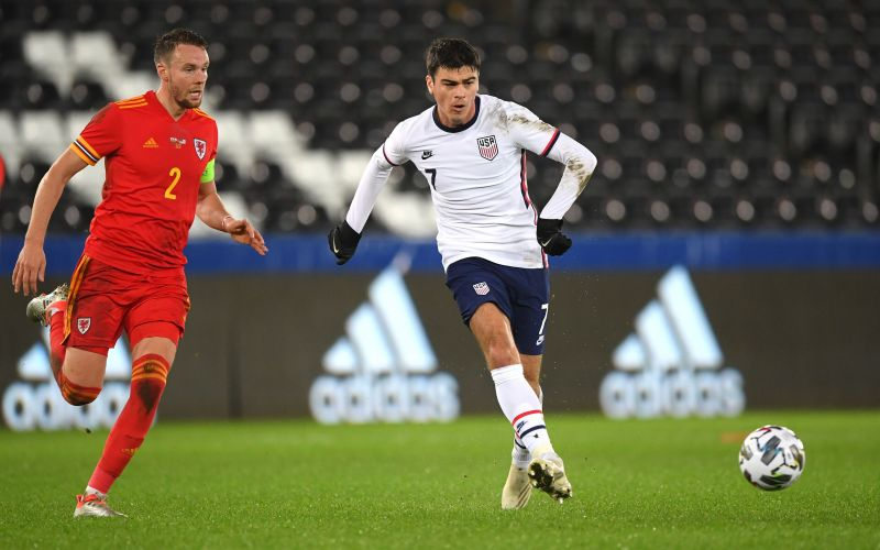 Giovanni Reyna in action against Wales last week, the day before he turned 18.
