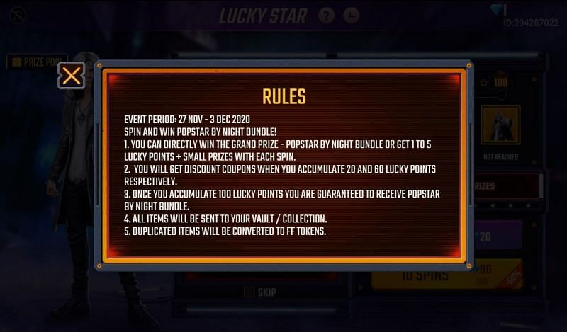 Rules of the event