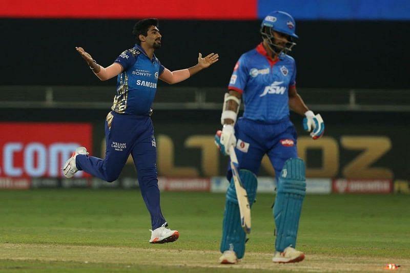 Jasprit Bumrah after dismissing Shikhar Dhawan in Match 41 of IPL 2020.