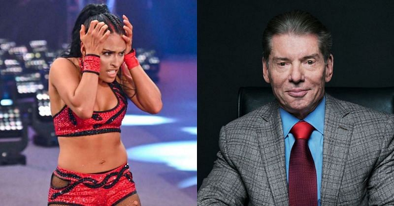 Zelina Vega and Vince McMahon.