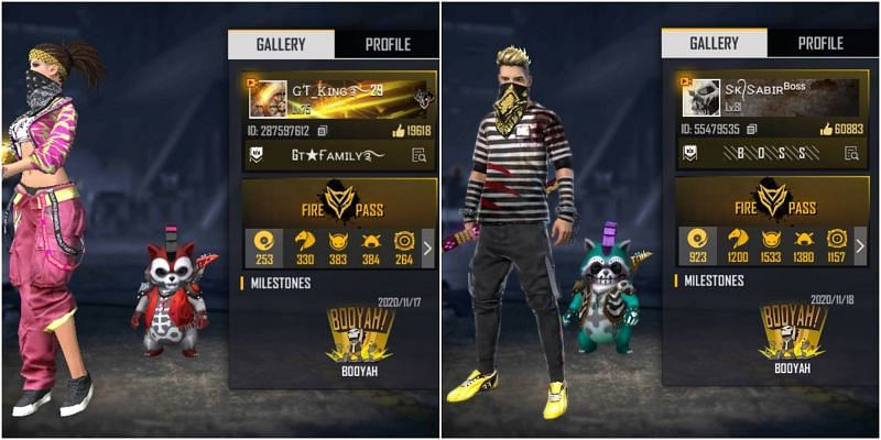 Free Fire IDs of both GT King and SK Sabir Boss