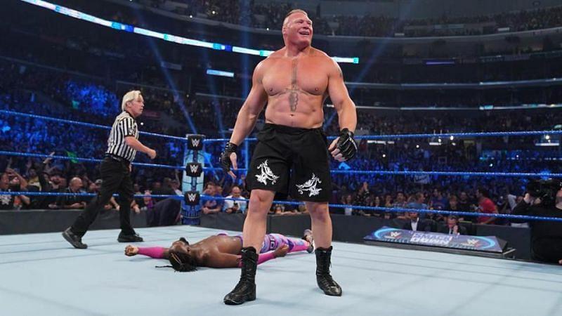 Brock Lesnar after his win over Kofi Kingston