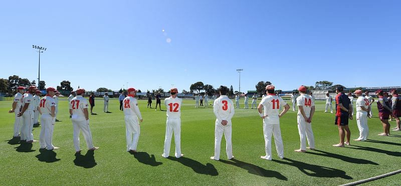 The barefoot circle from the Sheffield Shield game between Southern Australia and Queensland.