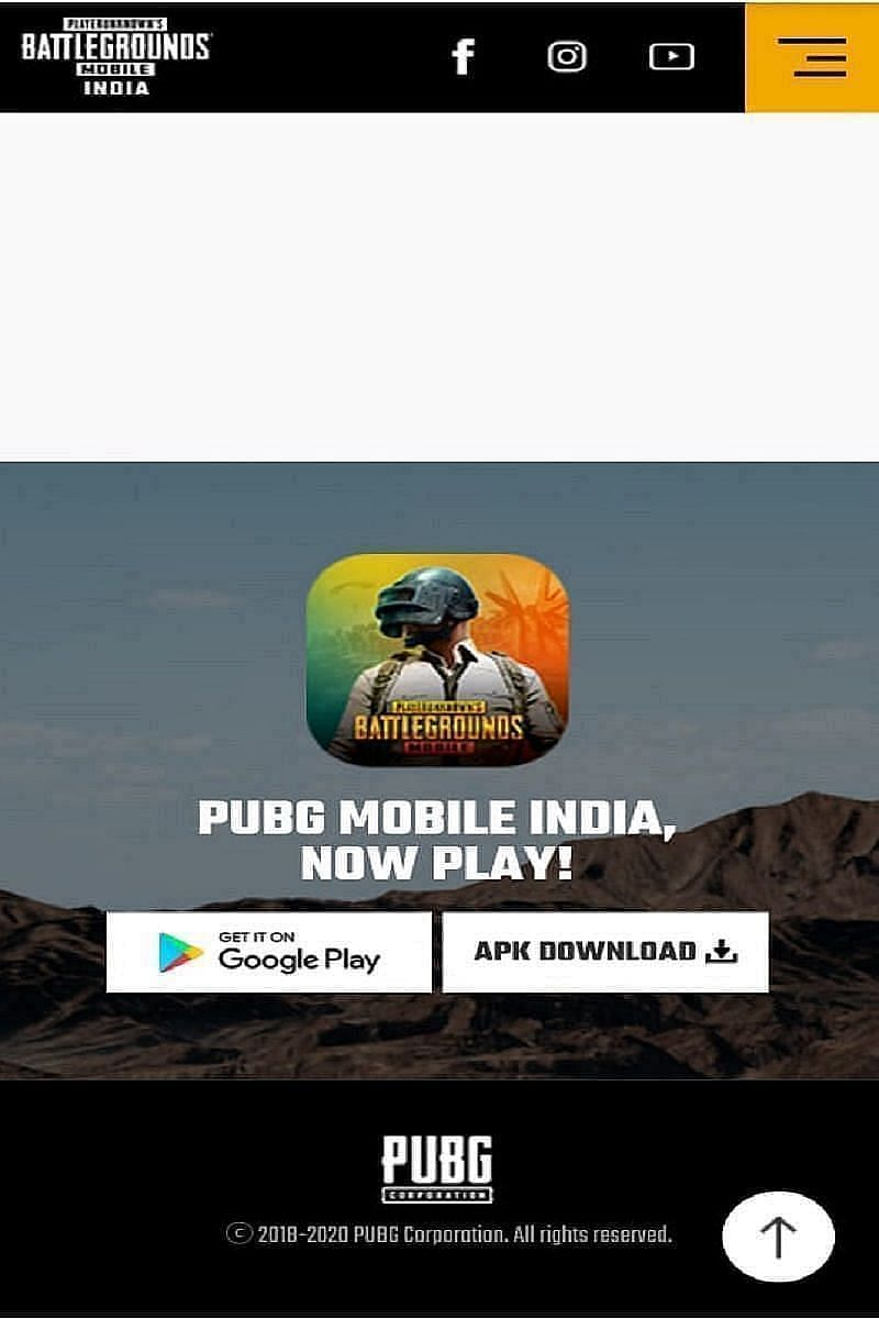 The downloads section of the PUBG Mobile India website