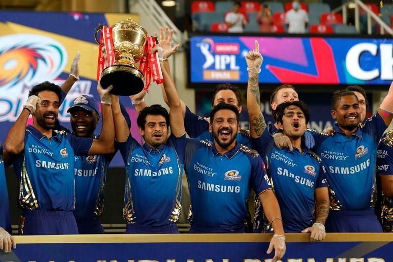 Mumbai Indians celebrate winning IPL13