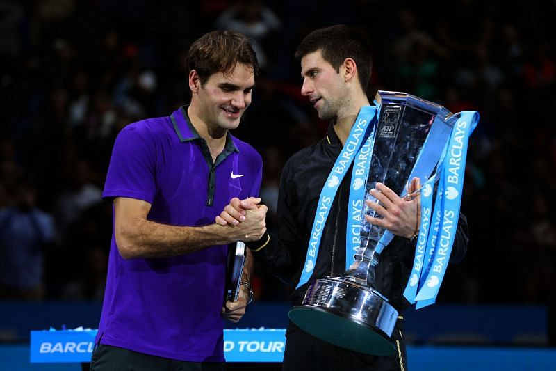 Roger Federer (L) and Novak Djokovic at the 2012 ATP World Tour Finals - Day Eight
