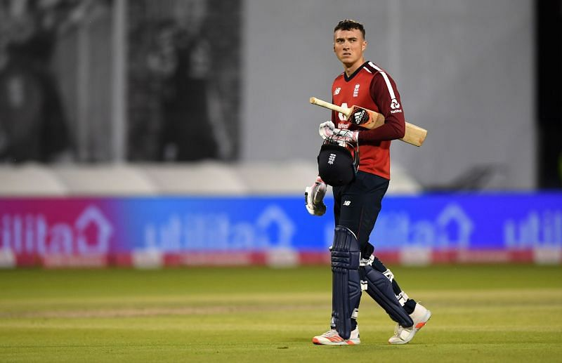 Tom Banton walking off in the 3rd T20I during England