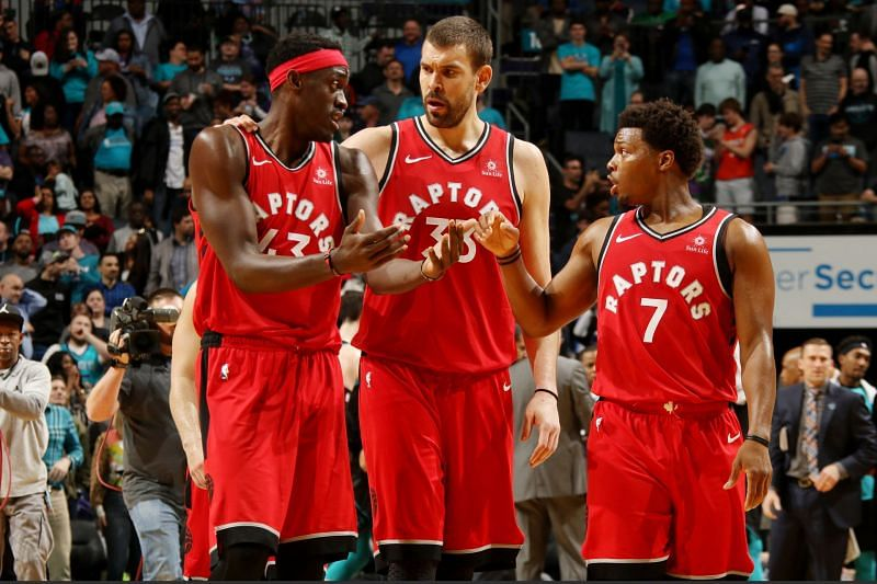 Kyle Lowry, Pascal Siakam and Marc Gasol of the Toronto Raptors